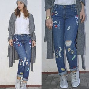 Zara Trafaluc Ripped Patch Boyfriend Jeans